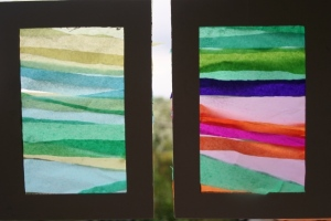 Tissue paper frames in window