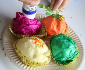 Glueing cupcakes