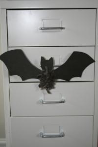 Bat on cabinet