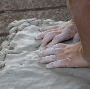 Push clay onto board