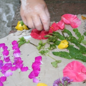 Pressing petals into clay
