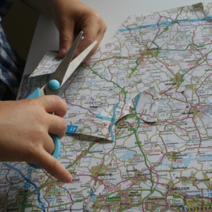 Cutting strip out of map