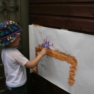Painting rusty bridge