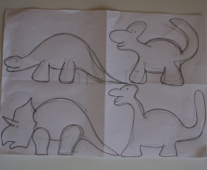 Outline drawings of dinosaurs