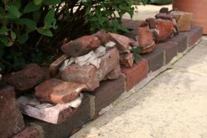 Mini brick sculptures in mini exhibition