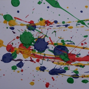 Ted's painting like Jackson Pollock