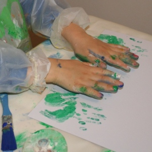 Making hand print leaves