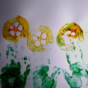 Quince hand print flowers