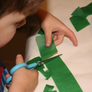 Cutting tissue paper into squares and rectangles