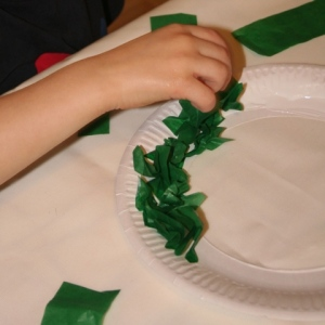 Scrunching and adding tissue paper leaves
