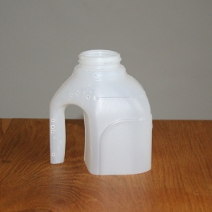 Cut the top of a milk bottle