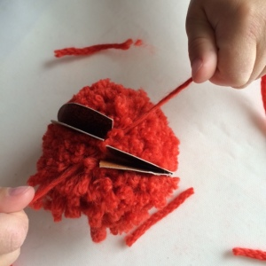 Tie wool around middle of pom-pom